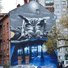 "Mural ""The Owl"", artist: Artur ""Turbos"" Bosowski, ul. Sempolowskiej, Bielsko-Biala, Poland"