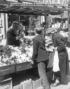 Undated : Lambeth Walk with Cornbloom's Menswear and DER TV Rentals in the background. Vintage London, Old London, Walks In London, South London, London Photos, Brixton, Old Photos, Walking, Calendar Ideas