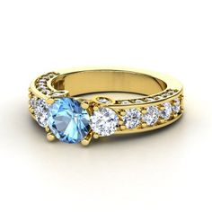 blue topaz 14k yellow gold ring with diamond rebecca ring gemvara
