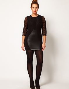 Potential Birthday Dress- ASOS CURVE Exclusive Dress with Lace & Leather Look Panels