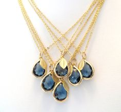 Set of 6 Sapphire Blue Bridesmaid Necklaces // Perfect for a Navy Blue Wedding // Gold Necklaces // Bridal Jewelry by #LoveShineBridal, $156.00 #Navy_Wedding