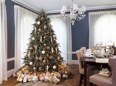 Chic Chandelier Also Upholstered Dining Chairs Design Feat Gray Wall Paint Idea And Elegant Christmas Decor Elegant Christmas Decoration Ideas with Sparkling Accessories Decoration