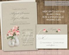 Rustic Wedding Invitation Suite Blush Pink Ranunculus Roses Country Wedding Vintage Typography Romantic Mercury Glass Digital Printable DIY by NotedOccasions