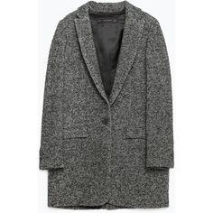 Zara Oversize Wool Blazer found on Polyvore featuring outerwear, jackets, coats, coats & jackets, blazers, woolen jacket, oversized blazer, wool jacket, zara jacket and oversized jacket