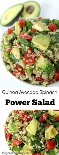 Easy and energizing quinoaEasy and energizing quinoa avocado spcinach power salad that packs a HUGE nutritional punch! (vegan and gluten-free) avocado spinach power salad that packs a HUGE nutritional punch! (vegan and gluten-free) Healthy Salads, Healthy Eating, Healthy Protein, Healthy Food, Taco Salads, Healthy Nutrition, Nutrition Jobs, Nutrition Tracker, Nutrition Shakes