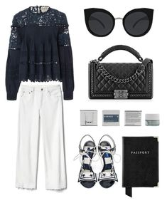 """Peek-A-Boo: Eyelet"" by eva-jez ❤ liked on Polyvore featuring Gap, Sea, New York, Dolce&Gabbana, Aspinal of London, Chanel, Korres, Quay and eyelet"