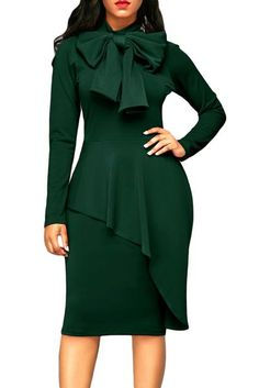 5c8a2d751a3 Jade Green Pussy Bow Long Sleeve Asymmetric Peplum Dress  peplumdresses  Dress With Bow