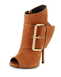 Leather Peep-Toe High-Heel Bootie, Light Brown by Giuseppe Zanotti at Neiman Marcus.