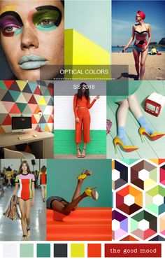 new powerful summer vibes after wintertime. This moodboard winks to optical rétro patterns and strong colors contrasts #ss2018 #trends #colors #optical #moodboard #thegoodmood