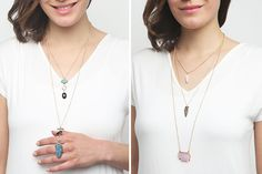 Longline layered necklaces featuring a faux druzy stone on each of its chains, a lobster clasp, and a high-polish finish. Wear this beauty over any simple outfit to really add some pop to it. 73% OFF
