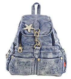 SAIERLONG MsBP Womens And Girls Backpack School Bag Travel Bag blue jean -- This is an Amazon Affiliate link. You can find more details by visiting the image link.