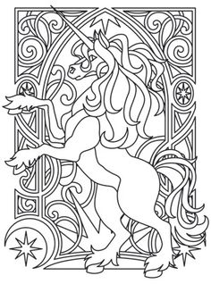 Unicorn Nouveau design (UTH7551) from UrbanThreads.com