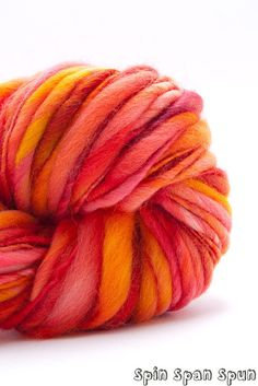 Incendie Thick and Thin Bulky Yarn HandSpun by SpinSpanSpun, $42.00