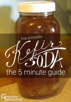 It takes just five minutes a day to keep this probiotic beverage ready in our fridge. Here is my five minute guide to making kefir soda (and a free printable for reference!).  #kefir #kefirsoda #culturedfoods