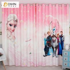 DIHINHOME Home Textile Kid's Curtain DIHIN HOME 3D Printed Pink Color Cartoon Frozen Blackout Curtains,Window Curtains Grommet Curtain For Living Room ,39x102-inch,2 Panels Included Childrens Curtains, Kids Curtains, Cool Curtains, Rod Pocket Curtains, Grommet Curtains, Blackout Curtains, Window Curtains, Room Window, Drapery