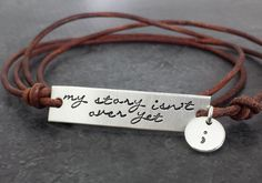 Semicolon Bracelet - My Story Isn't Over Yet - Sterling Silver and Leather Wrap Bracelet