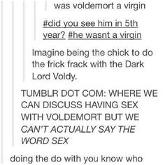 A funny tumblr text post about doing you-know-what with you-know-who