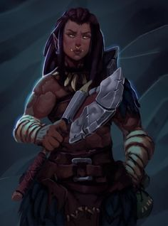 RPG Female Character Portraits, orc, woman, axe, bandages, bone necklace, warrior, fighter, barbarian.