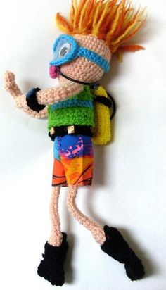 Crocheting: Spike, the Scuba Diver  PATTERN HERE:  http://www.yarnjulepsontheveranda.com/2009/08/spike-scuba-diver.html