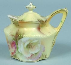 "RS Prussia Mustard Jar with spoon, 2.5""h.; Mold 52, yellow body with white roses and gold to mold features"