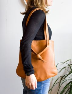 The Tesser Tote in Caramel Tan Leather