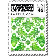 Emerald Green Vintage Damask Wedding Postage Stamps