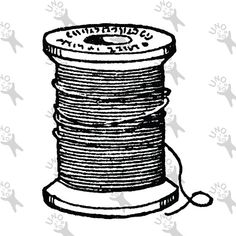 Antique image retro drawing Yarn Thread Bobbin Instant by UnoPrint