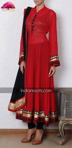 Red georgette anarkali suit from our Festive Anarkalis collection on Indianroots.com