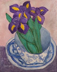 iris in a cup, contemporary still life by Soojung Cho, acrylic on canvas