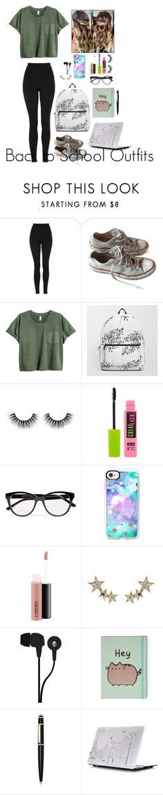 """Back to School Outfits #22"" by gussied-up ❤ liked on Polyvore featuring Topshop, Converse, Maybelline, Jimmy Choo, Casetify, MAC Cosmetics, Talia Naomi, Skullcandy and Cartier"