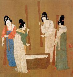 唐-张萱-捣练图1-波士顿博物馆    Painted by the Tang Dynasty artist Zhang Xuan 张萱.
