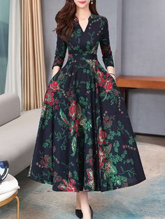 V-Neck Patch Pocket Printed Maxi Dress Moda Mormon, Frock Patterns, Party Wear Dresses, Business Dresses, Mode Hijab, Modest Dresses, Long Dresses, Indian Dresses, Dresses For Sale