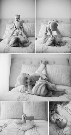 mother and baby boy playing on bed in raye law photography studio. I like the top photos.