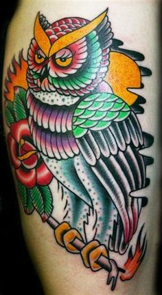 Old school vintage traditional owl tattoo by Myke Chambers of Philadelphia , PA