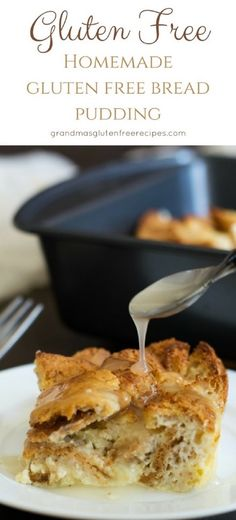 You will love this old fashioned homemade gluten free bread pudding recipe. Even more delicious with this easy vanilla cream sauce drizzled on top.  via @grandmasgfree
