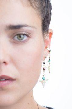 Boho EAR CUFF, Real Shark Tooth earrings, Gold Feather Ear Cuff Earrings, OOAK, Gold & Turquoises Gemstone, Boho Jewelry, Hand Made, Gift