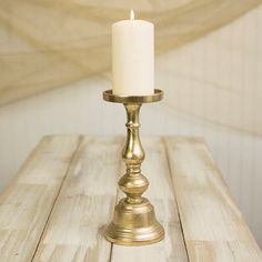 Pillar Candle Holder, 11.25 inches tall, Metal, Gold LSD…