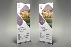 Real Estate Roll-Up Banner Company Brochure Design, Graphic Design Brochure, Banner Design Inspiration, Brochure Inspiration, Rollup Banner, School Brochure, Corporate Brochure, Pull Up Banner Design, Exhibition Banners