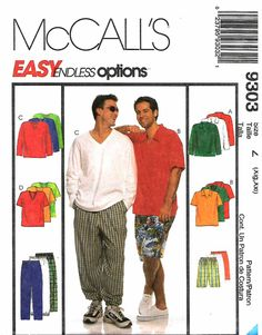 McCall's Sewing Pattern 9303 M9303 Mens Chest 46-52 Easy Wardrobe Tops Pants Shorts   McCall's+Sewing+Pattern+9303+M9303+Mens+Chest+46-52+Easy+Wardrobe+Tops+Pants+Shorts