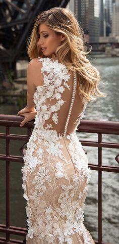 Sleeveless sweetheart neckline 3dfloral applique heavy embellishment nude tulle skirt mermaid wedding dress #wedding #weddingdress #millanova #weddinggown #bridedress
