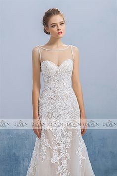 Sleeveless Sheer Neckline Rude Lining Lace Applique Sheath Gown