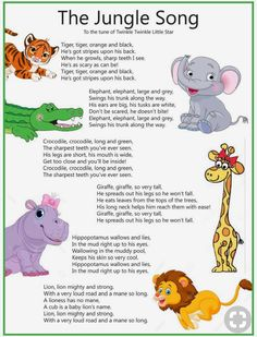 Classroom songs - I absolutely LOVE this and I dare you to start singing the verse with the hippopotamus without thinking about it! Preschool Music, Preschool Learning, In Kindergarten, Teaching, Preschool Jungle, Preschool Classroom, Home School Preschool, Kids Music, Classroom Games