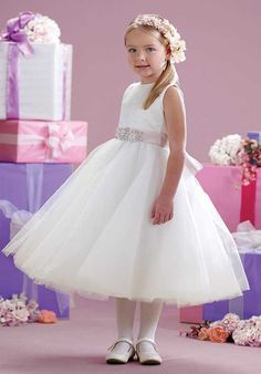 Joan Calabrese by Mon Cheri 215343 Ivory Flower Girl Dress