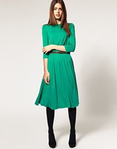 I love the color, I love the drape, I love the sleeve...her expression could be happier. You're a model, sweety.