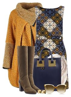 """""""Patchwork Dress & Suede Knee Boots"""" by brendariley-1 ❤ liked on Polyvore featuring Dorothy Perkins, Banana Republic, Sophie Hulme, Sergio Rossi and Waterford"""