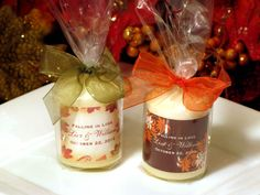 Favors?    personalized AUTUMN FALL wedding candle votive favors - with organza ribbon. $1.99, via Etsy.