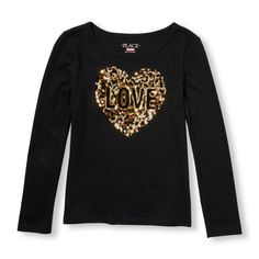 Girls Long Sleeve Embellished Graphic Top - Black - The Children's Place