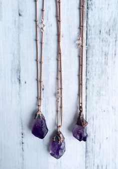 Amethyst crystal necklace | February Birthstone jewelry | Electroformed raw amethyst necklace | February Birthstone necklace  I hand craft each