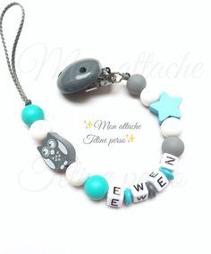 attache tétine personnalisée perles en bois ~ modèle hibou gris silicone