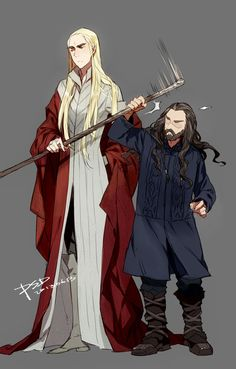 Tags: Anime, Fanart, The Lord of the Rings, PSD, Thranduil - Thorin